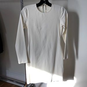 White long sleeve mini dress.